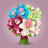 Illustration of color orchid bouquet