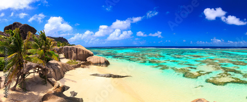 Beautiful beach panoramic view on a paradise island near the ocean on Seychelles