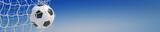 Panorama von Fußball im Tor vor Himmel - 108702026