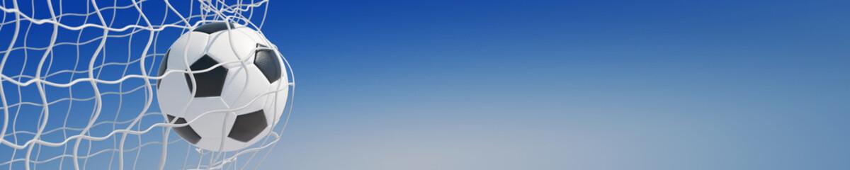 Panorama von Fußball im Tor vor Himmel
