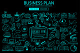 Business Planning  concept with Doodle design style: online solution
