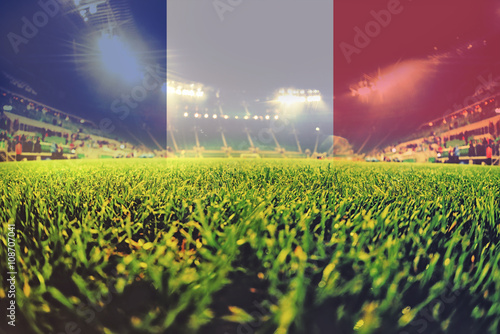 euro 2016 stadium with blending France flag Poster