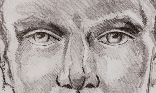 woman eyes pencil drawing on paper, eye contact.  - 108712084