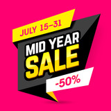 Mid Year Sale banner, poster. Big sale, special offer, discounts, 50% off