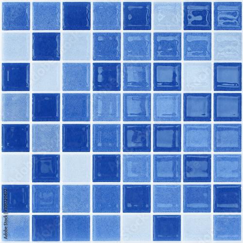 Fototapeta Blue glass mosaic tile wall