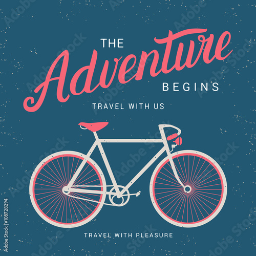 Plakát The adventure begins poster with bicycle silhouette