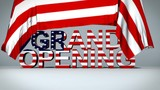 USA flag raises to reveal Grand Opening text