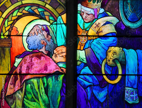 Poster Saints Cyril and Methodius - Stained Glass by Alphonse Mucha