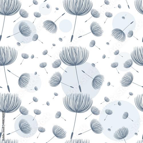Abstract fluffy dandelion flower seamless pattern. Vector illust - 108748405