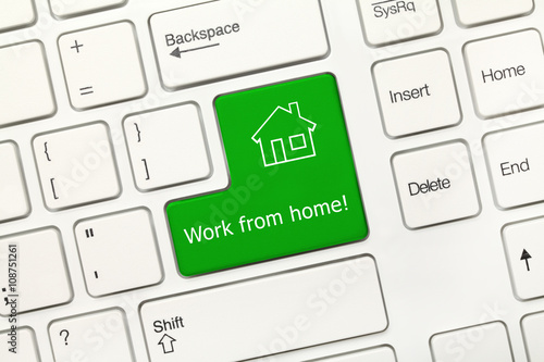 White conceptual keyboard - Work from home (green key) Poster
