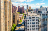 Aerial view of 2nd Avenue Manhattan. Tilt-shift effect applied
