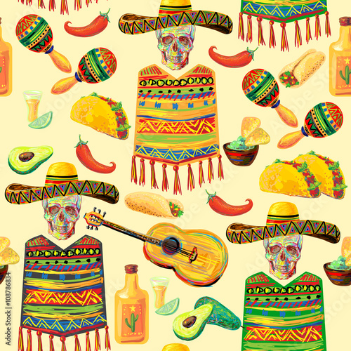 Mexican food seamless music pattern with skull, sombrero hat, mustache, guitar, maracas, guitar, poncho, taco, tequila, lime, fajitas, nachos, avocado and chill pepper vector background © Katsiaryna