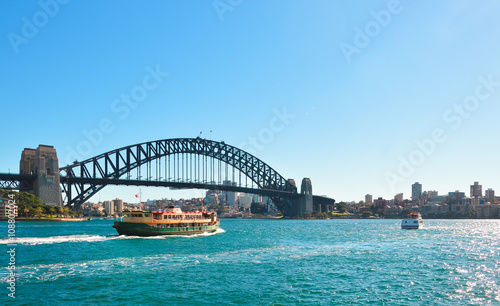 Staande foto Sydney View of Harbour bridge with ferry boat, Sydney