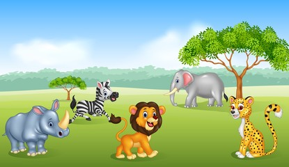 Cartoon happy animal africa
