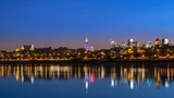 Fototapety View of the old city of Warsaw from the Vistula night