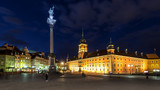 Fototapety Square Castle and Sigismund's Column at night