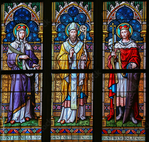 Stained Glass - Saints Ludmilla, Methodius and Wenceslas Poster