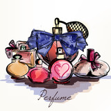 Vector background with perfumes drawn in watercolor style select