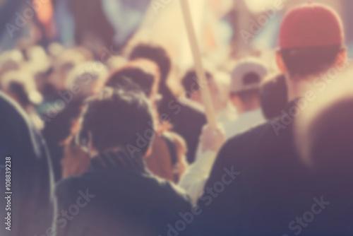 Billede Blur unrecognizable crowd at political meeting, cheering audienc