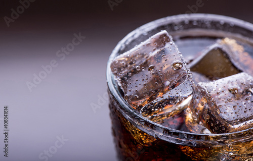 Close up on a soft drink with ice Poster
