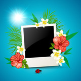 Photo and tropical flowers