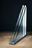triple glazing, wooden base, black background