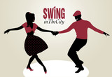 Young Couple dancing swing silhouettes
