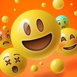 Fototapety Background with group of smiley emoticons
