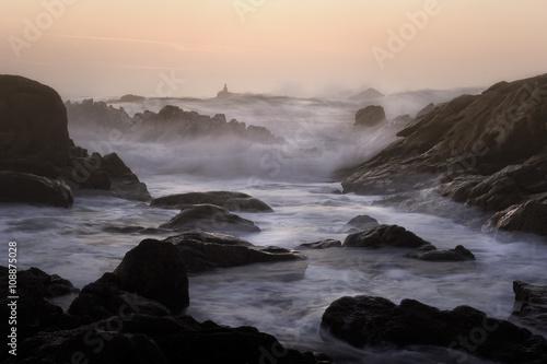 Rocky beach at dusk