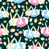 Pattern of Easter bunnies and eggs