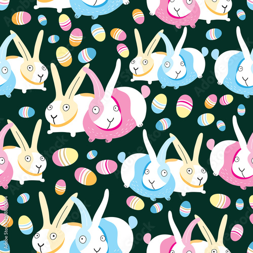 Materiał do szycia Pattern of Easter bunnies and eggs