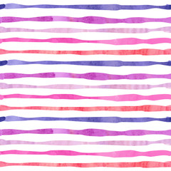 Watercolor horizontal stripes seamless pattern. Striped vector background in purple and pink colors.