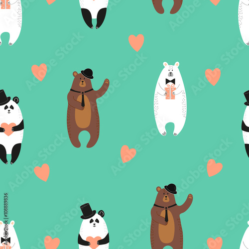 Cute cartoon bears with hearts. Romantic vector background. Valentine's day design. Seamless pattern.  - 108889836