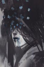 Streszczenie sztuki niezwykłego portretu, ilustracja digital painting