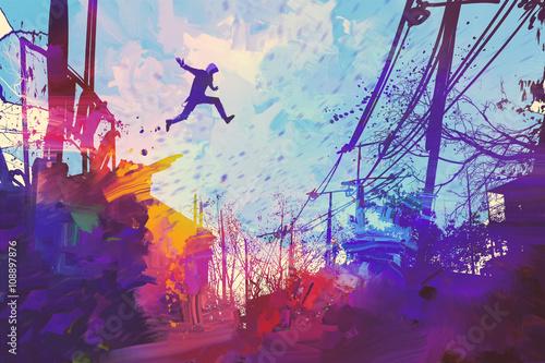 czlowiek-skoki-na-dachu-w-miescie-z-streszczenie-grunge-ilustracja-malarstwo