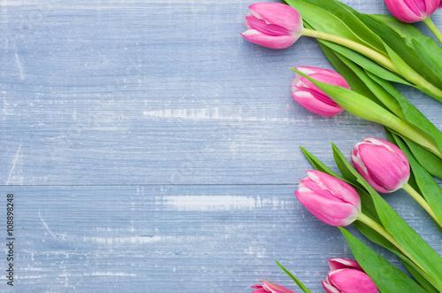 Rosa Tulpen auf blauem Holzhintergrund