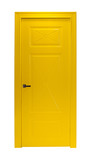 Modern yellow room door isolated on white background