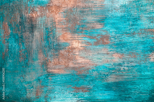 Painted abstract blue concrete plaster wall background © prescott09