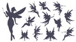 Cute Fairies silhouette collection, Little fairies set. Hand drawn vector illustration.