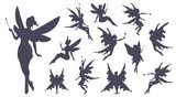 Fototapety Cute Fairies silhouette collection, Little fairies set. Hand drawn vector illustration.