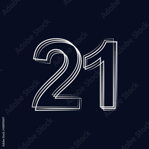 number 21  outline stroke