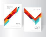 Fototapety Brochure design. Flyer, booklet, annual report cover template. a4 size. modern Geometric Abstract background. blue, yellow and red diagonal lines & triangles. vector-stock illustration
