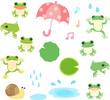 カエルと雨のイラストセット