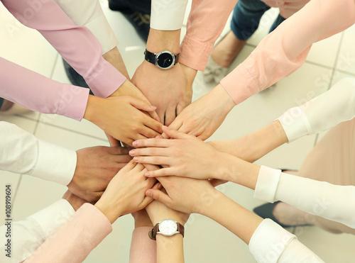 Teamwork concept. Business people hands