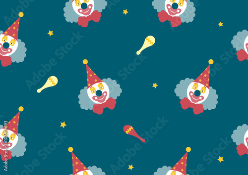 Cotton fabric pattern seamless of Clown face on green backgrouds,Vector illustrations
