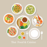 Thai Food and Cuisine Set, Traditional, Famous Menu, with Rice