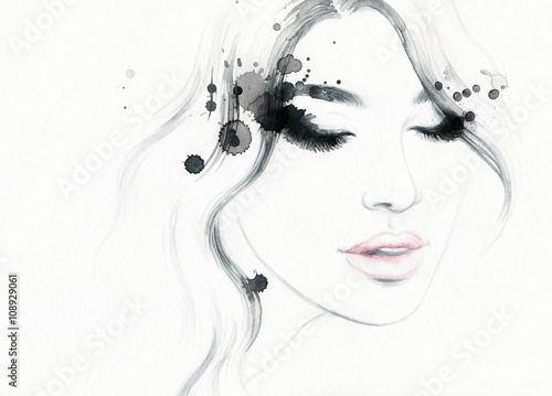 Abstract fashion watercolor illustration. Beautiful woman face. © Anna Ismagilova