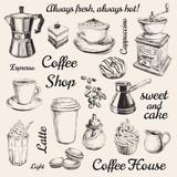 Hand Drawn Set Coffee Vector illustration - 108932290