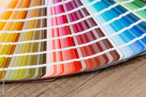 Poster Color guide on desk closeup