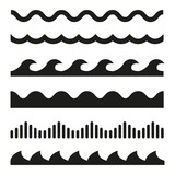Fototapety Vector black wave icons set on white background. Water waves